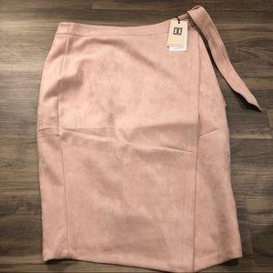 Ivanka Trump Pink Faux Suede Mock-Wrap Skirt NWT